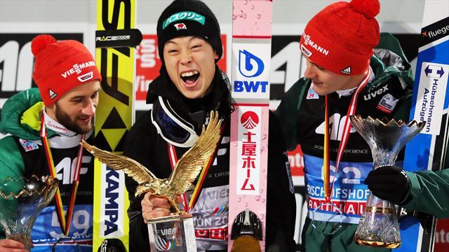 Siegerehrung: Kobayashi erhält den Adler - Eisenbichler und Leyhe gerührt