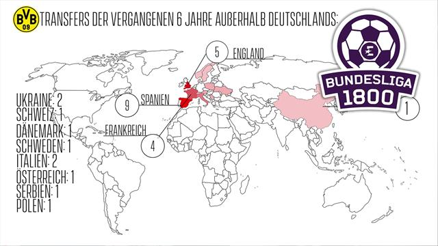 Bundesliga 1800   Hier schlug der BVB zu: Die Transferkarte von Borussia Dortmund