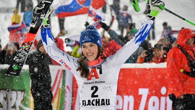 Vlhova finally ends Shiffrin slalom hoodoo and triumphs at Flachau