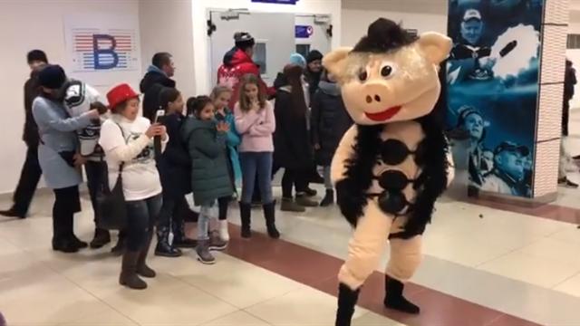 Хрюшка-маскот в трех лифчиках станцевала перед детьми под «Sex Bomb» на матче «Югры»
