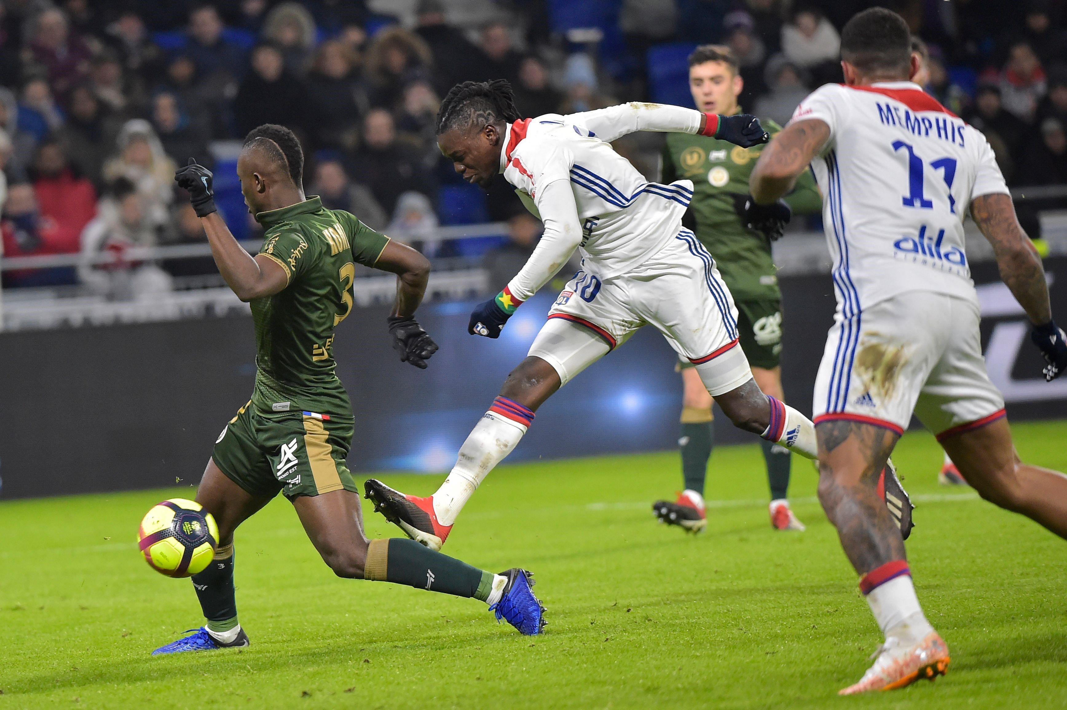 Bertrand Traoré lors de Lyon - Reims en ligue 1 le 11 janvier 2019