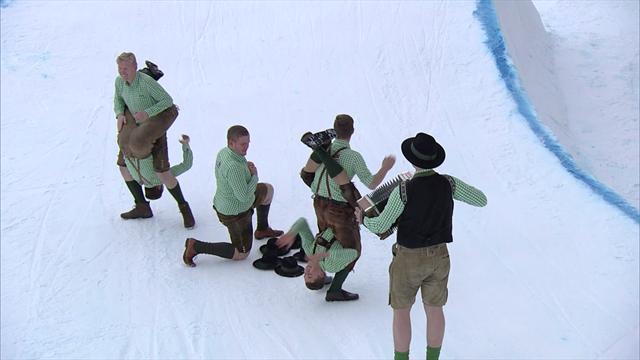 A Kreischberg una danza tirolese tutta da ridere prima della gara di slopestyle