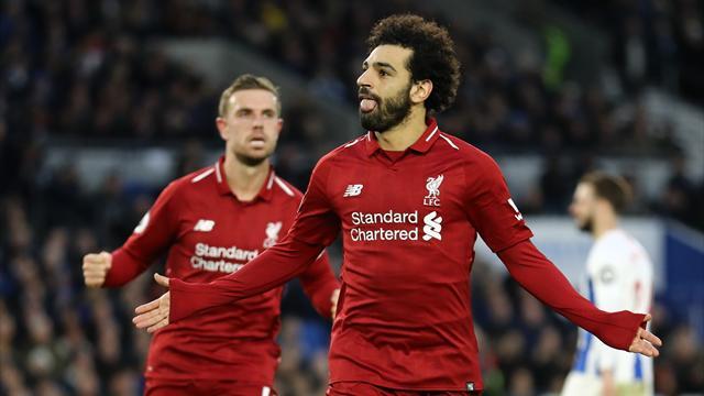Lampo di Salah: il Liverpool vince 1-0 a Brighton e ricaccia il City a -7