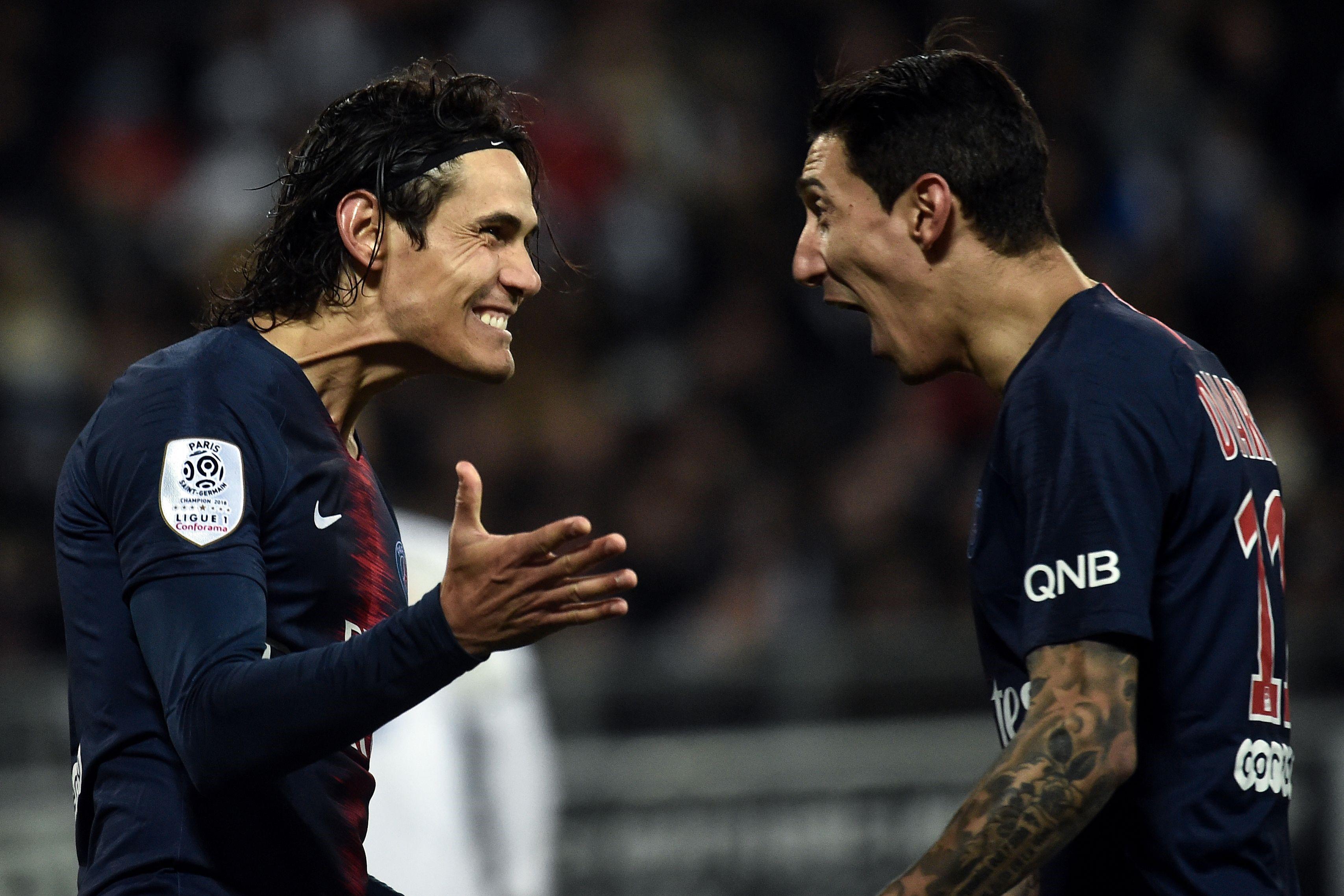 Edinson Cavani et Angel Di Maria lors de Amiens - PSG en Ligue 1 le 12 janvier 2019