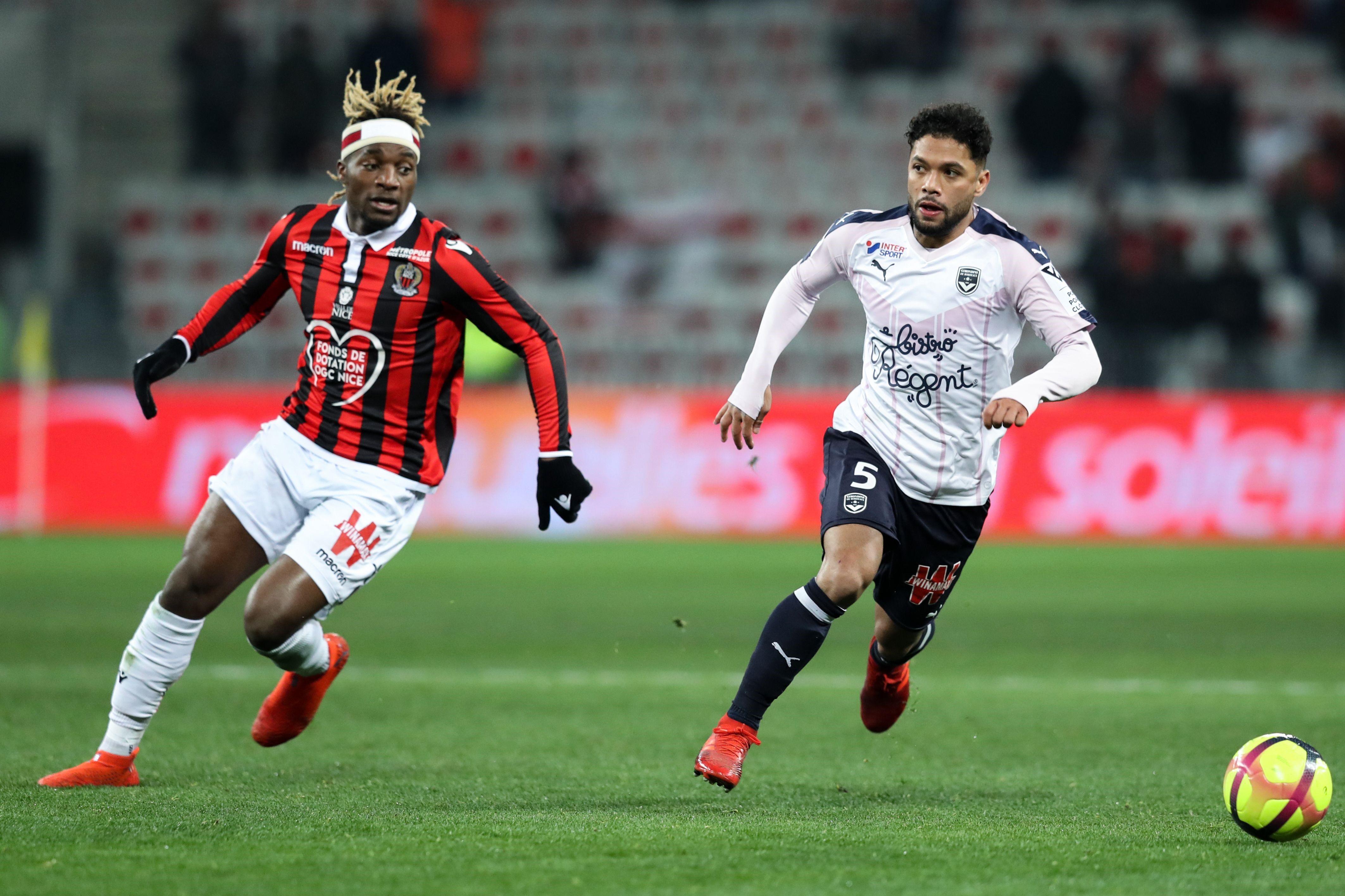 Allan Saint-Maximin et Otavio lors de Nice - Bordeaux en Ligue 1 le 12 janvier 2019