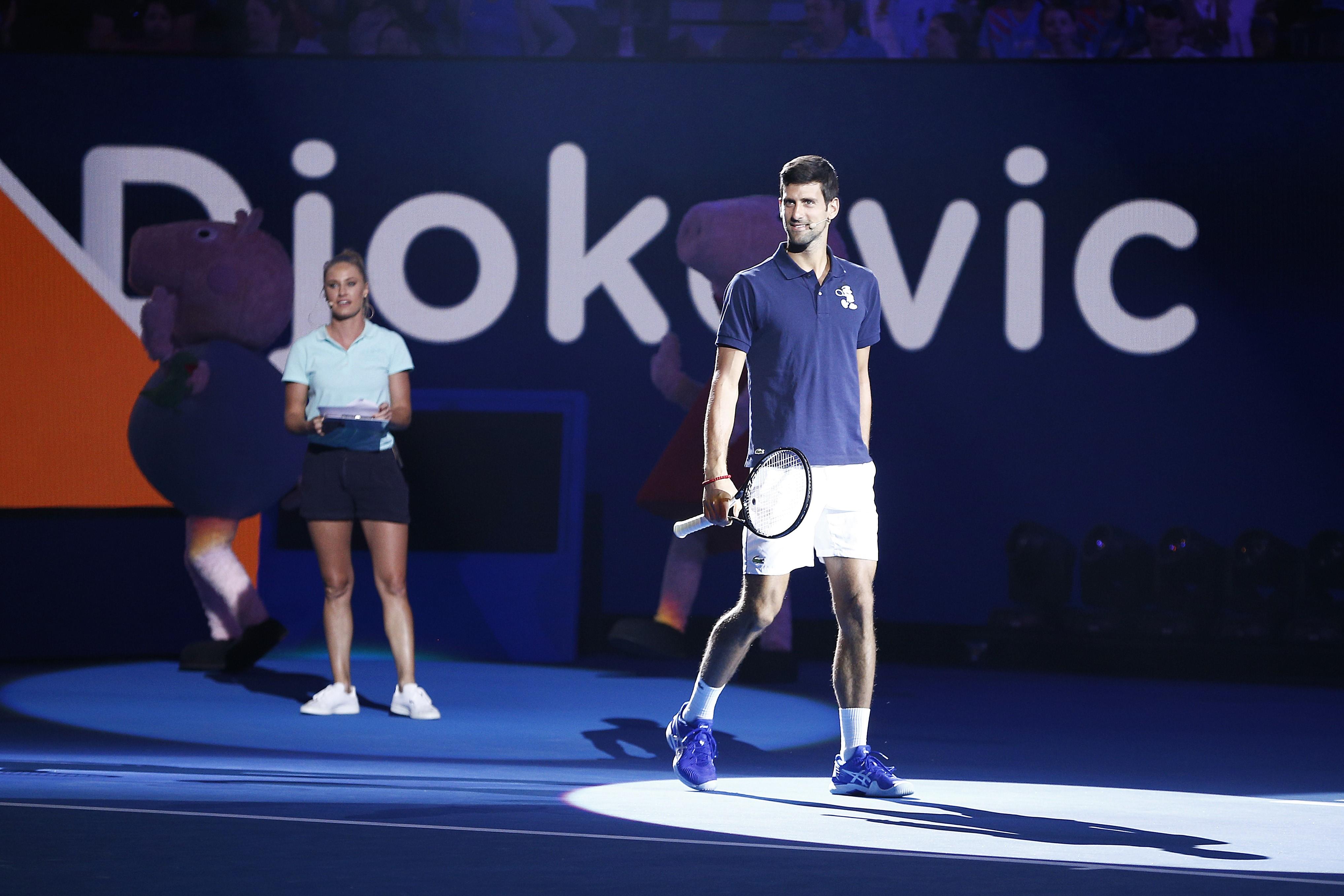 Novak Djokovic lors du Kids Day de l'Open d'Australie 2019