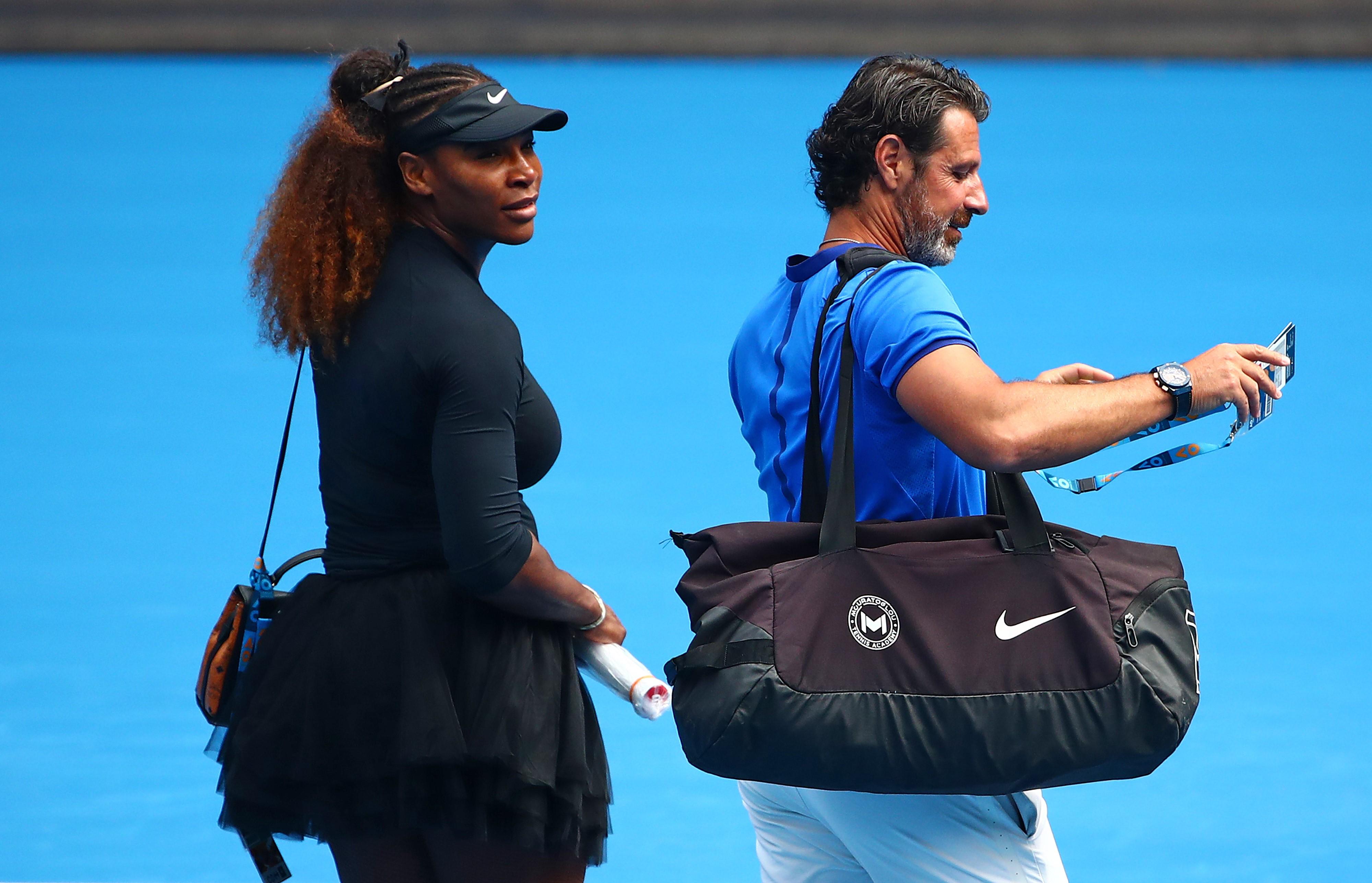 Serena Williams et Patrick Mouratoglou lors de l'Open d'Australie 2019