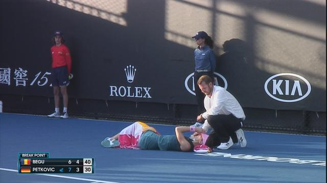 Petkovic collapses on court in first-round match