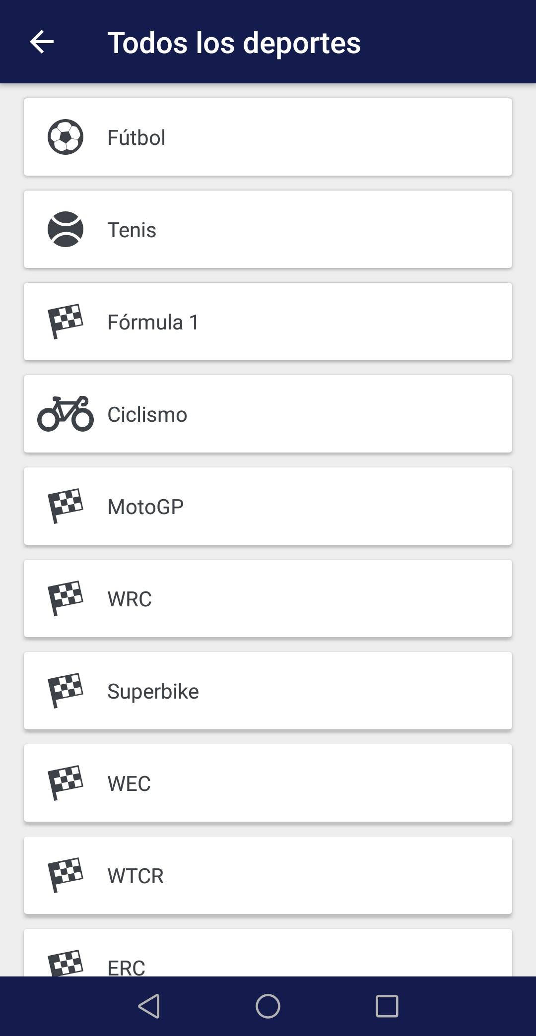 Menú App Eurosport