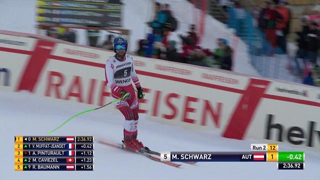 Schwarz stays on feet to take thrilling win in Wengen