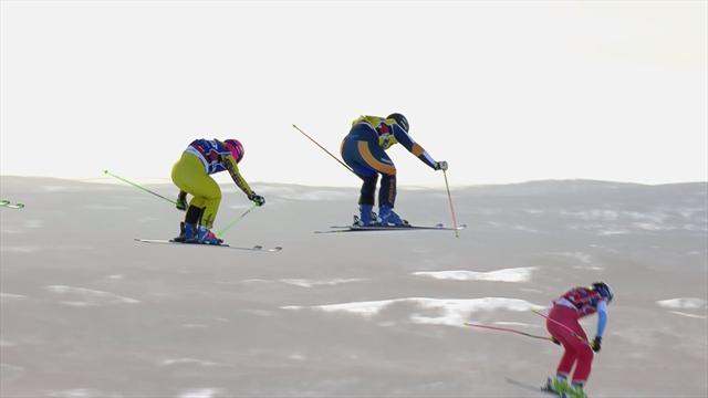 Zacher edges three-way dash for the line to win Ski Cross final