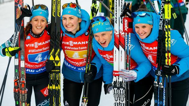 Solide au tir et rapide sur les skis, le relais féminin a gagné avec brio