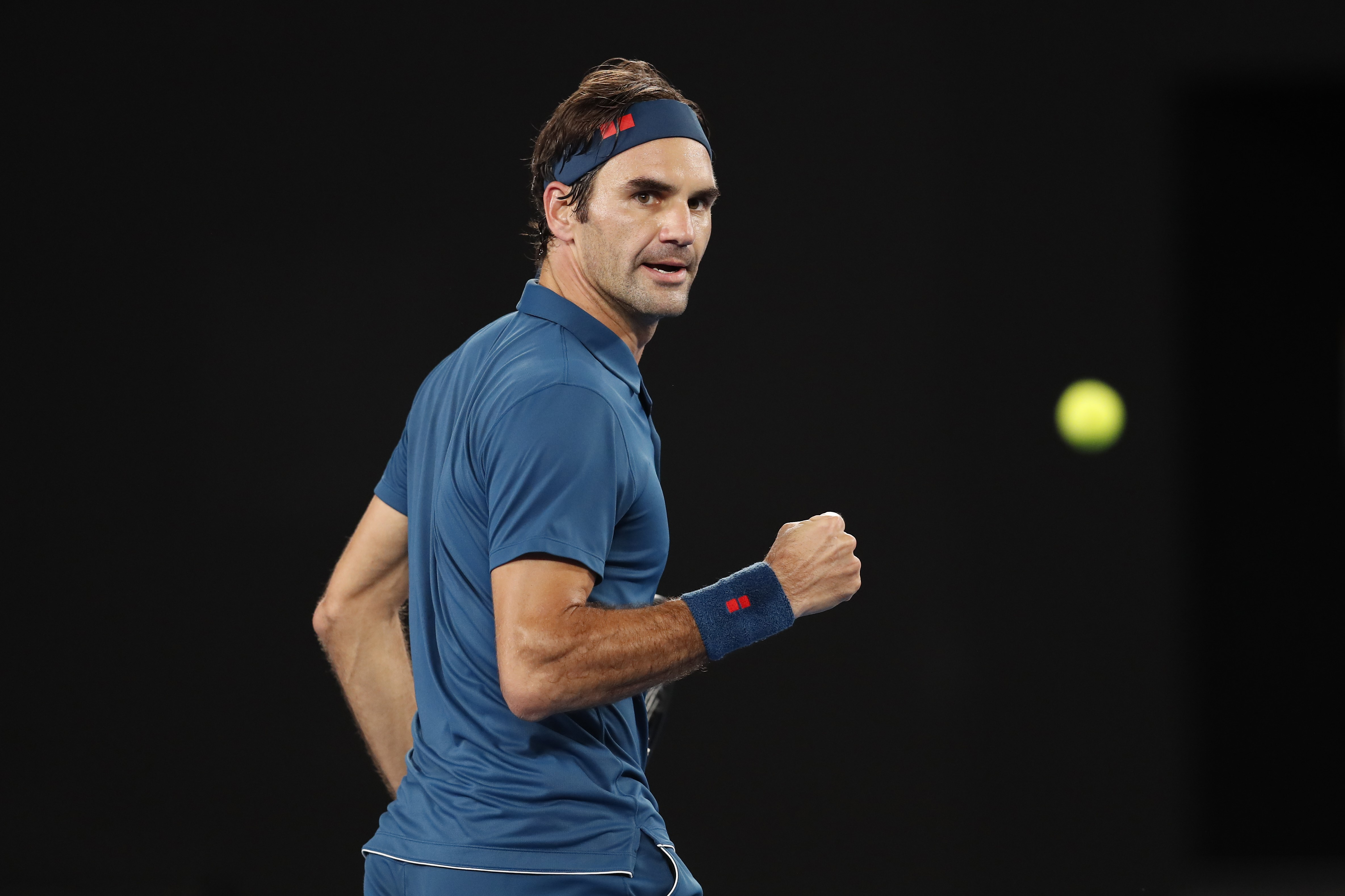Roger Federer lors de son 8e de finale contre Stefanos Tsitsipas / Open d'Australie
