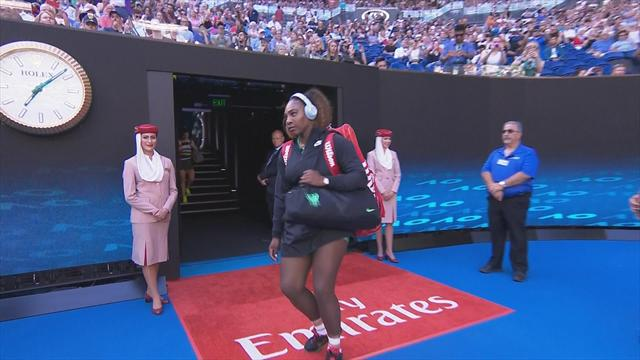 Oops! Serena Williams abruptly halted on entrance to Rod Laver Arena
