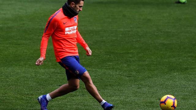 El Atlético entrena con Gelson y Kalinic; Godín y Lucas trabajan aparte