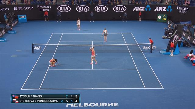 Stosur and Zhang win epic point in women's doubles