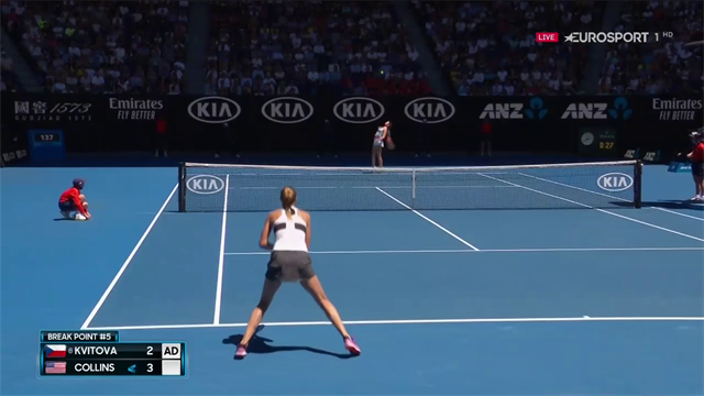 Kvitova celebrates wildly after claiming break back