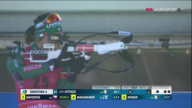 Lisa Vittozzi è quinta nella sprint e avvicina Wierer in classifica: vince a sorpresa Davidova
