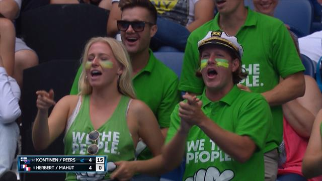 Fans sing: 'That's the way I like it' during doubles final