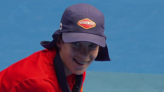Ball boy pulls off top catch after Kontinen smacks ball skywards