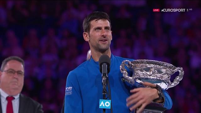"""Il discorso di Novak Djokovic: """"Se penso dove ero un anno fa, tutto questo è straordinario"""""""