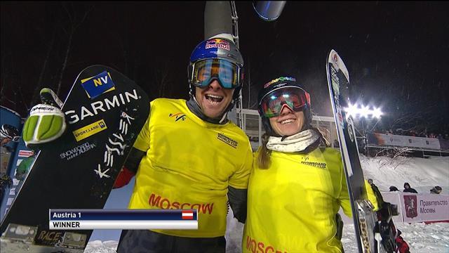 Austria triumph in snowboard cross parallel slalom relay