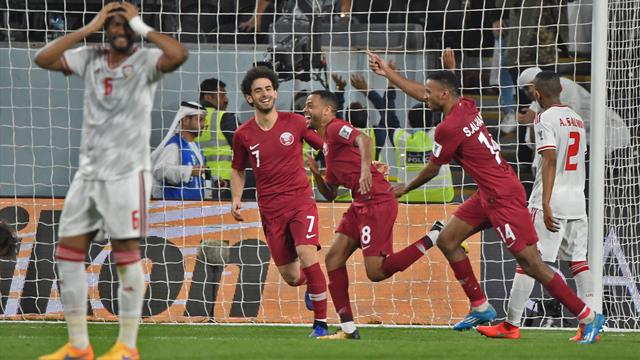 Home fans throw shoes in disgust as Qatar hammer hosts UAE to reach Asia Cup final