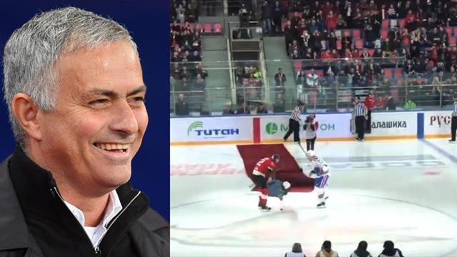 El saque de honor de Mourinho en un partido de hockey que acabó en pifia
