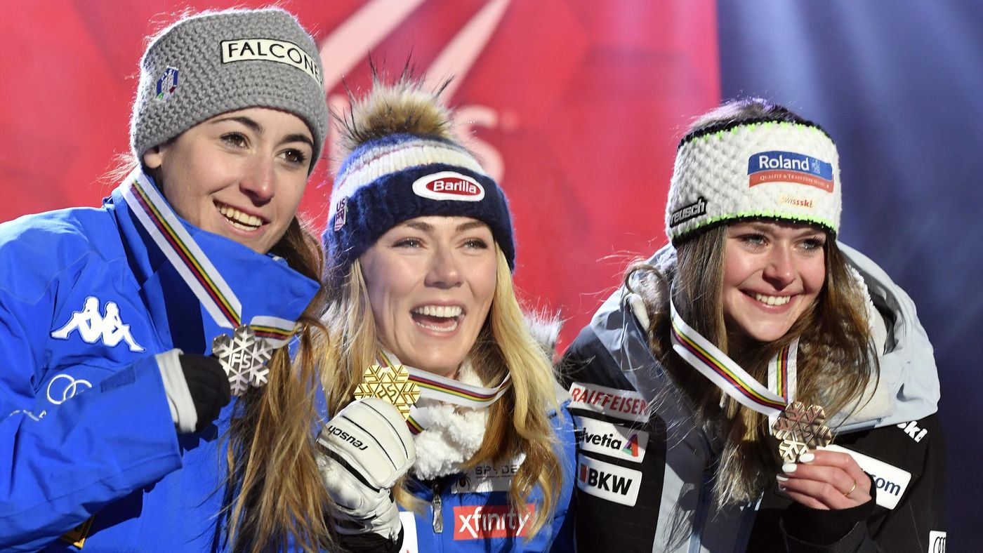 Mikaela Shiffrin of USA wins the gold medal, Sofia Goggia of Italy wins the silver medal, Corinne Suter of Switzerland wins the bronze medal during the FIS World Ski Championships Women's Super G on February 5, 2019 in Are Sweden