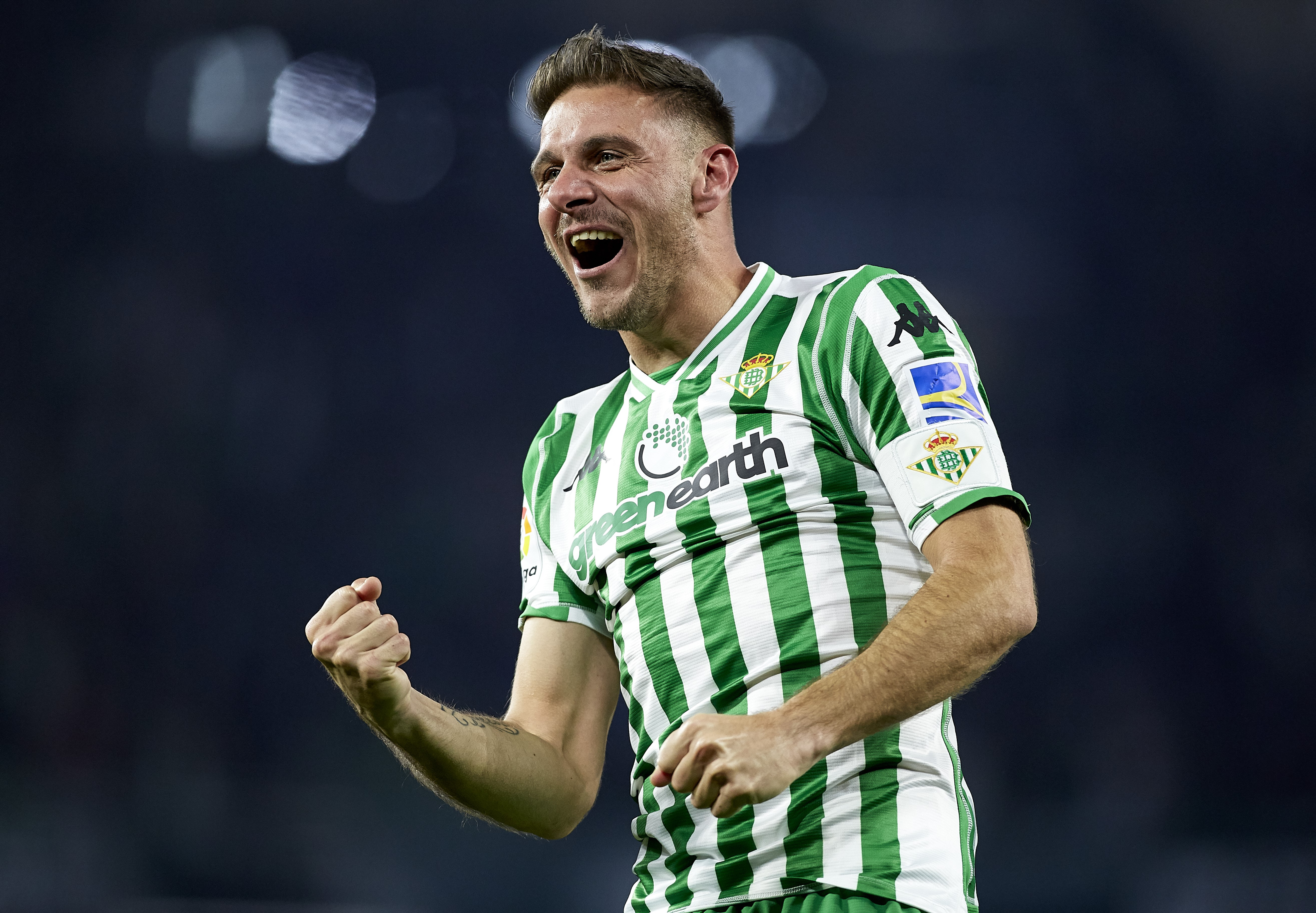 Joaquin Sanchez of Real Betis celebrates after scoring his team's second goal during the Copa del Rey Semi Final first leg match between Real Betis and Valencia CF at Estadio Benito Villamarin on February 07, 2019 in Seville, Spain.
