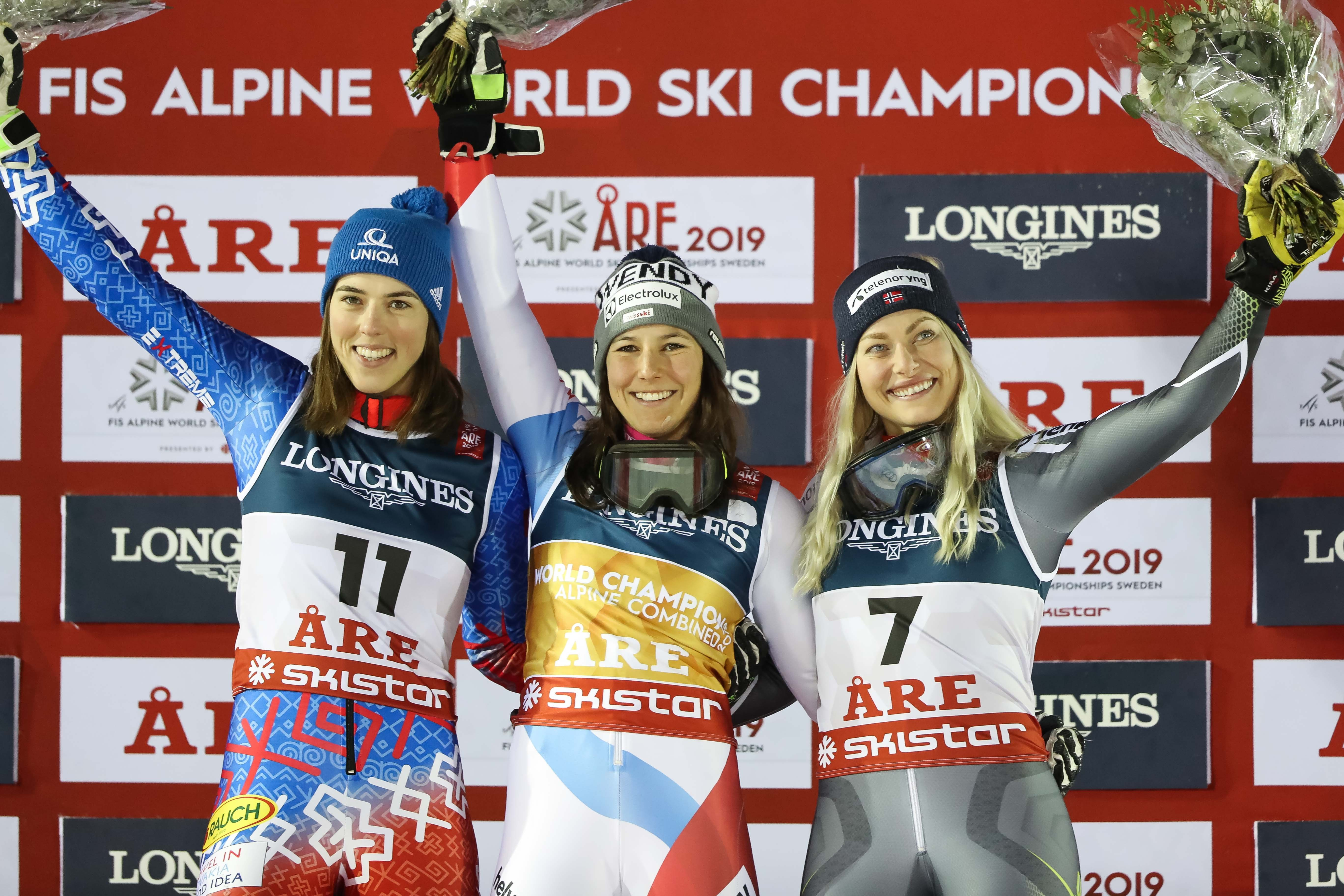 Petra Vlhova of Slovakia wins the silver medal, Wendy Holdener of Switzerland wins the gold medal, Ragnhild Mowinckel of Norway wins the bronze medal during the FIS World Ski Championships Women's Alpine Combined on February 8, 2019 in Are Sweden