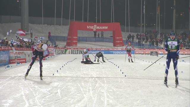 Finland take team sprint win by 0.2secs on home soil in Lahti