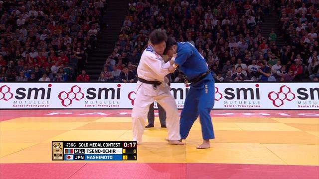 Hashimoto claims -73g title with late Ippon against Tsend-Ochir