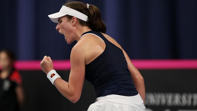 Konta overcomes health scare to send Great Britain into Fed Cup play-offs