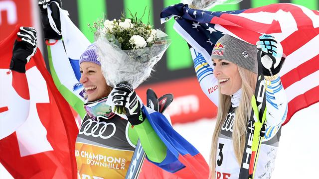 Vonn bows out with brilliant bronze as Stuhec defends downhill crown