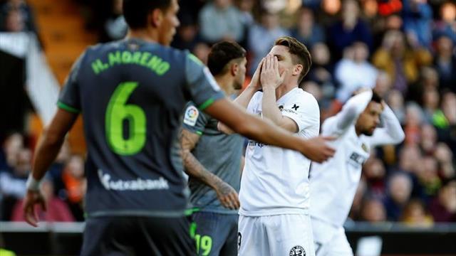 0-0. Valencia y Real muestran su buen momento en un choque intenso
