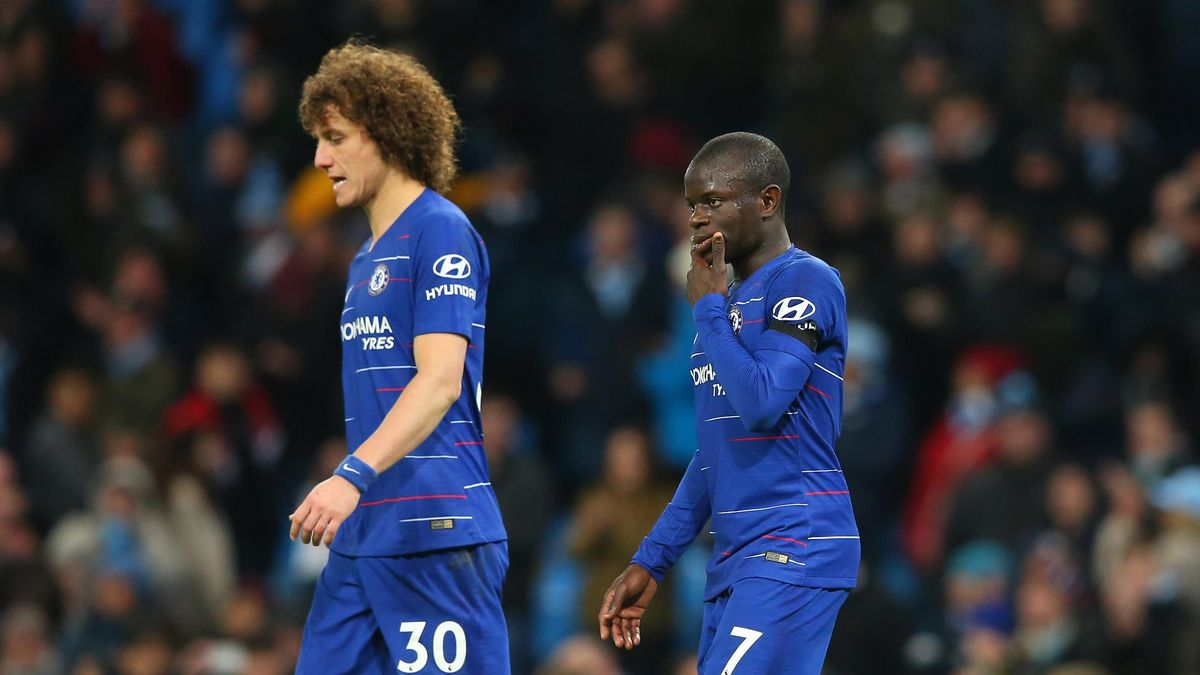 N'Golo Kante and David Luiz of Chelsea FC look dejected after the Premier League match between Manchester City and Chelsea FC at Etihad Stadium on February 10, 2019 in Manchester, United Kingdom.