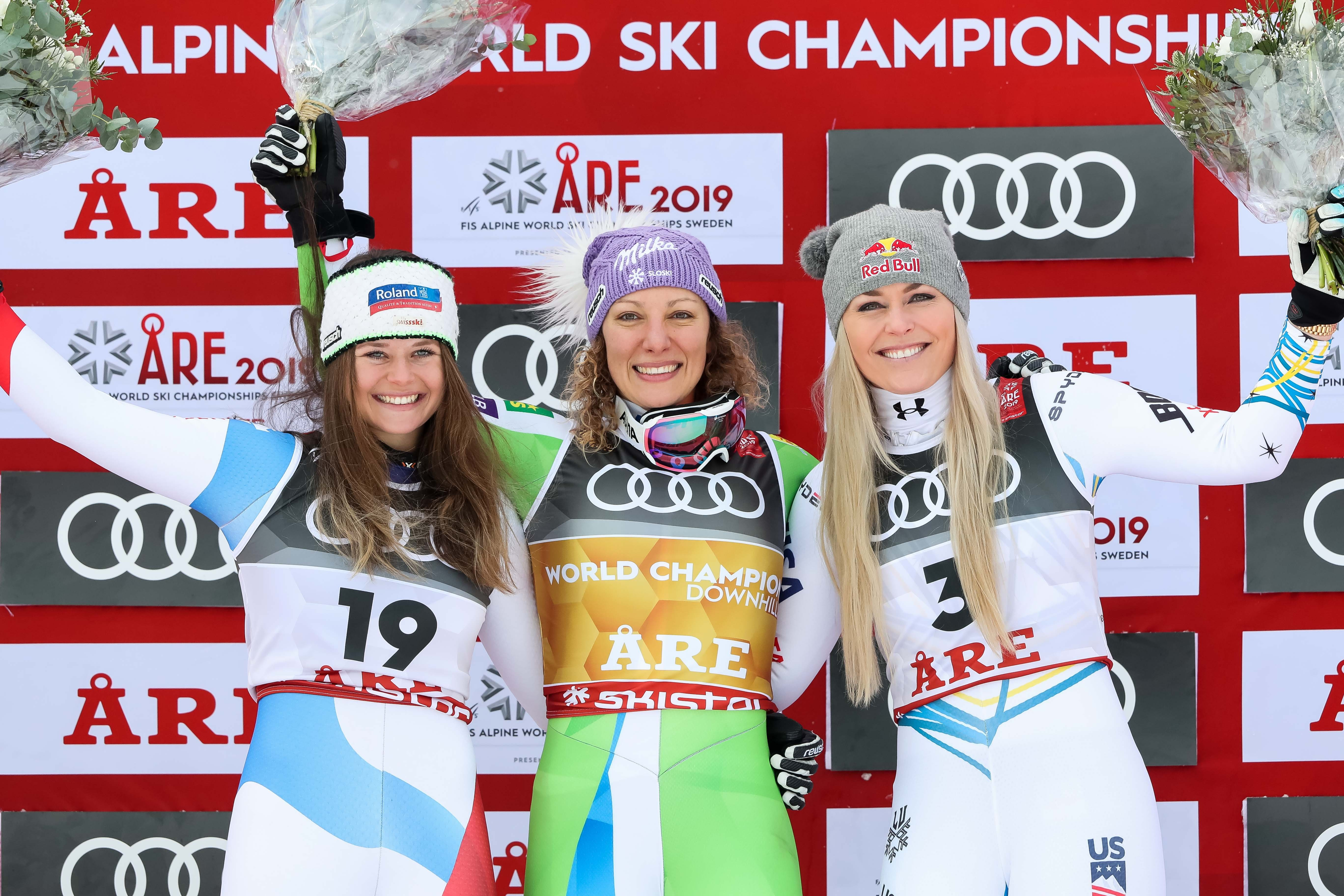 Corinne Suter of Switzerland wins the silver medal, Ilka Stuhec of Slovenia wins the gold medal, Lindsey Vonn of USA wins the bronze medal during the FIS World Ski Championships Women's Downhill on February 10, 2019 in Are Sweden.