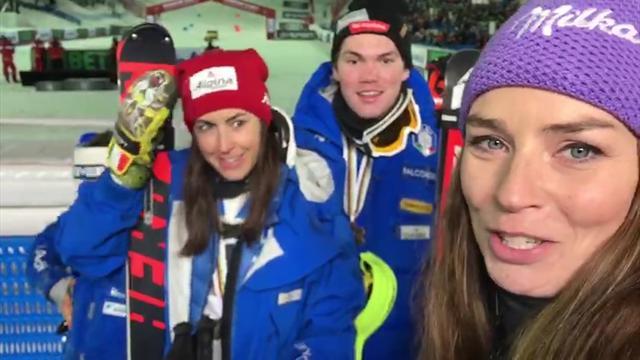 """Tina Maze con gli Azzurri di Bronzo del Team Event: """"Una gioia immensa"""""""