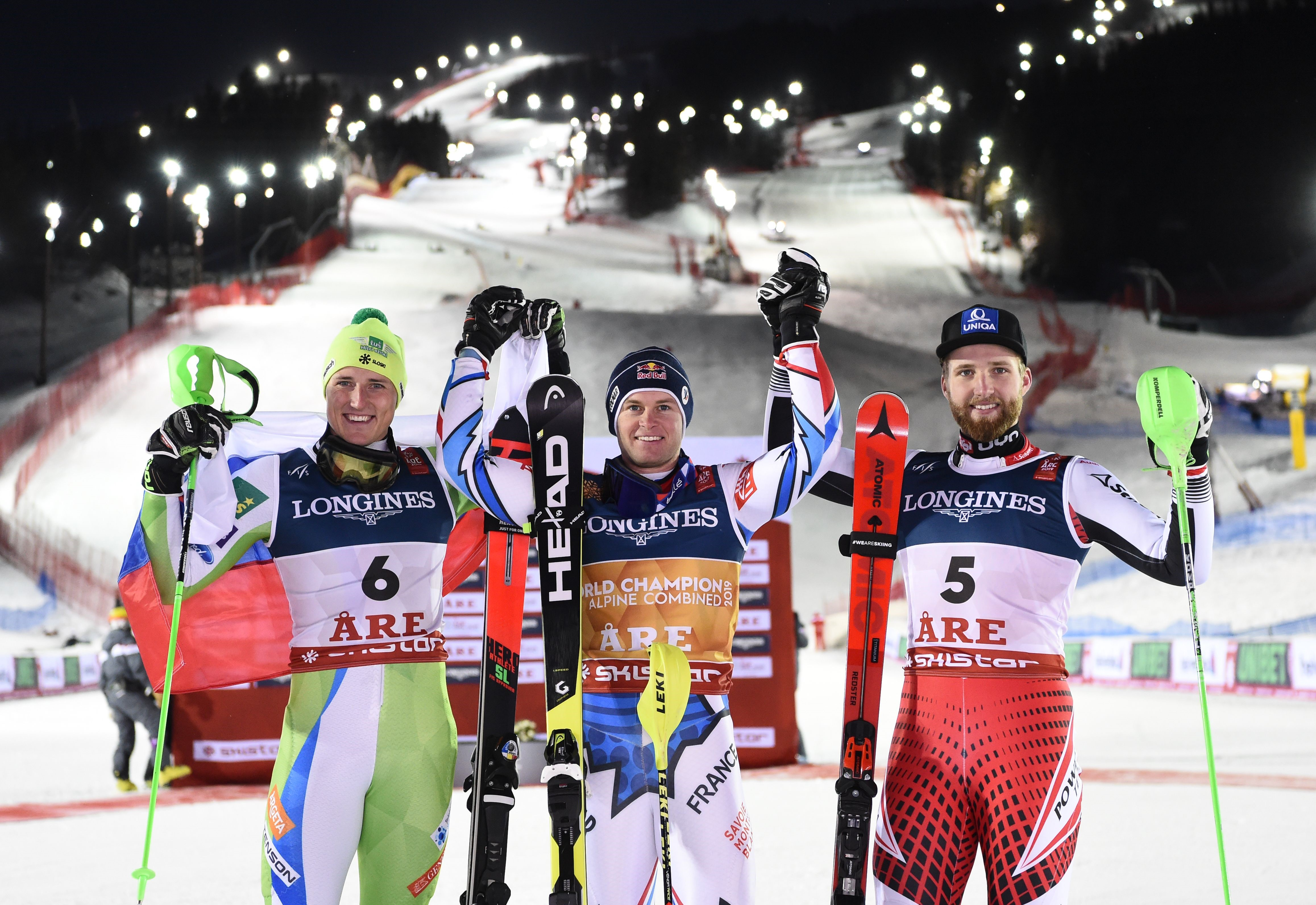 Alexis Pinturault of France wins the gold medal, Stefan Hadalin of Slovenia wins the silver medal, Marco Schwarz of Austria wins the bronze medal during the FIS World Ski Championships Men's Alpine Combined on February 11, 2019 in Are Sweden.