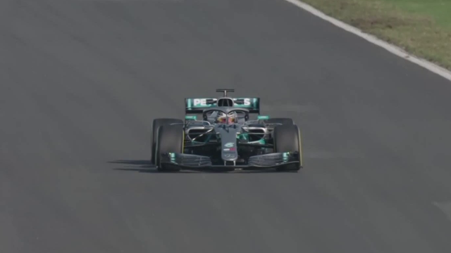 Lewis Hamilton puts his new Mercedes F1 car through its paces