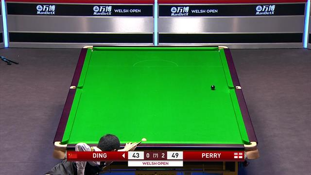 Ding emerges from safety exchange to nick frame three from Perry