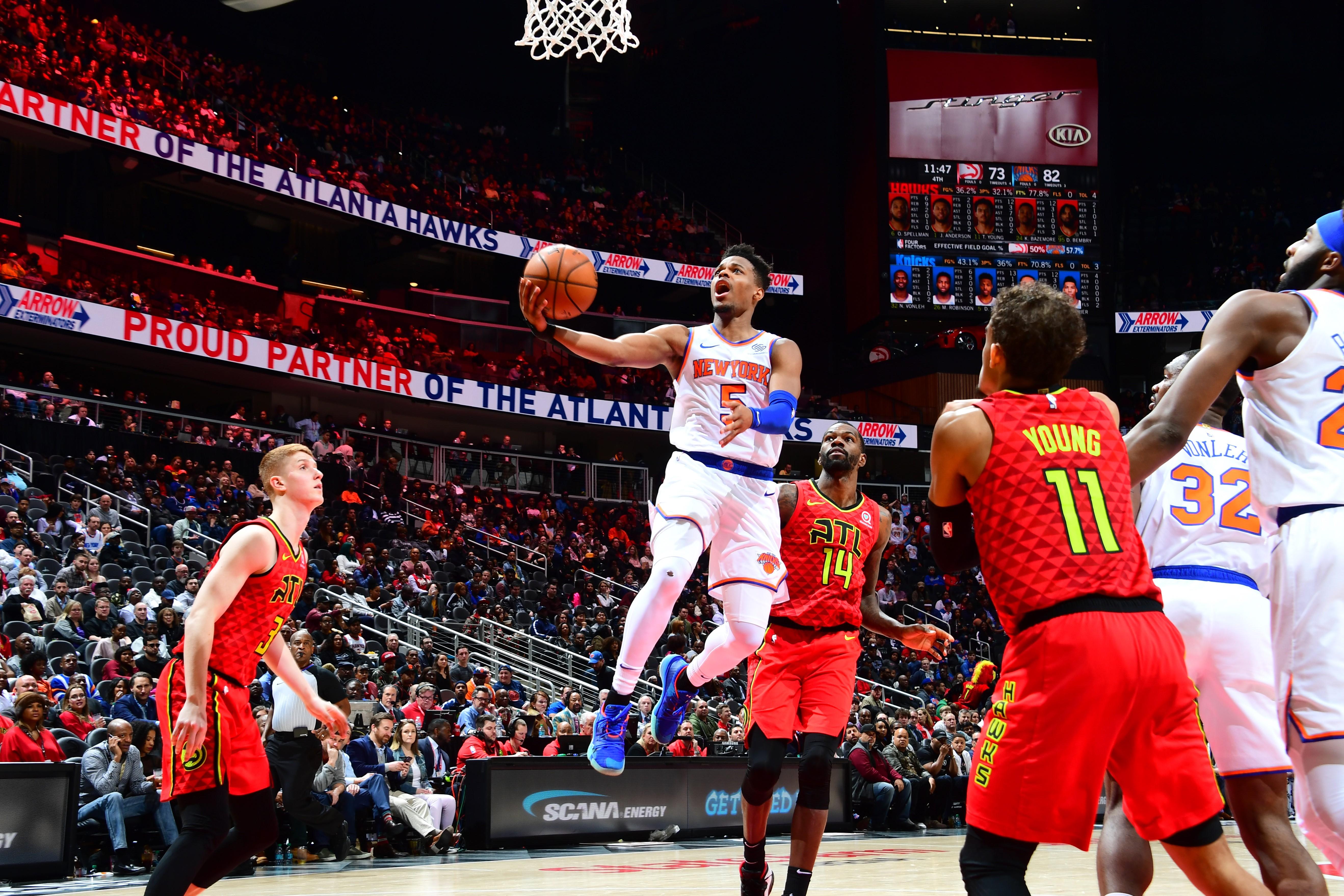 Dennis Smith lors de Atlanta Hawks - New York Knicks en NBA le 14 février 2019