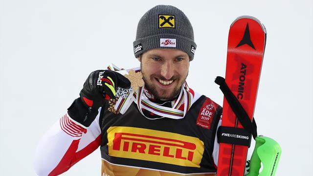 Sensational Hirscher wins third world Slalom title