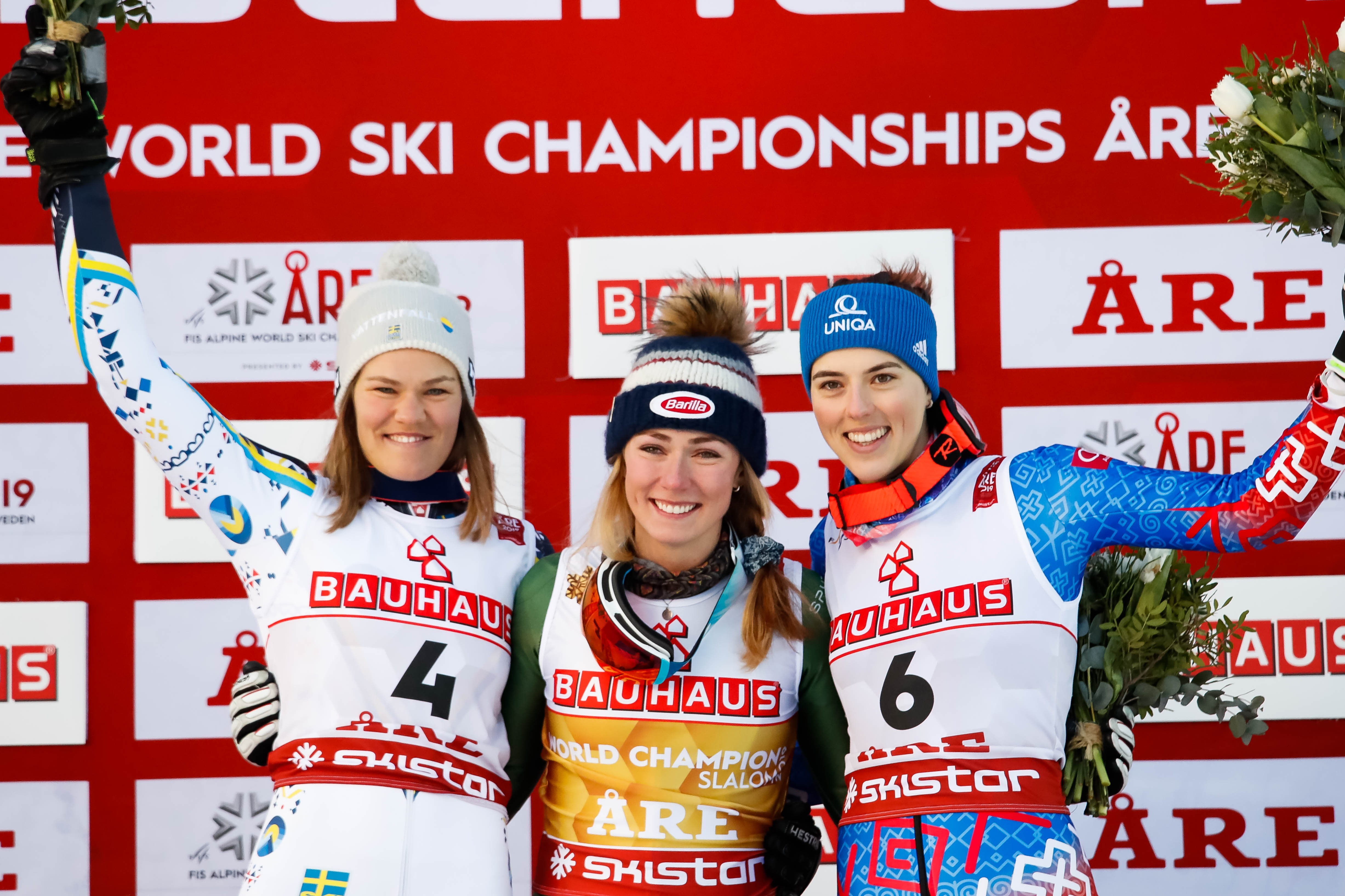 Anna Swenn Larsson of Sweden wins the silver medal, Mikaela Shiffrin of USA wins the gold medal, Petra Vlhova of Slovakia wins the bronze medal during the FIS World Ski Championships Women's Slalom on February 16, 2019 in Are Sweden.