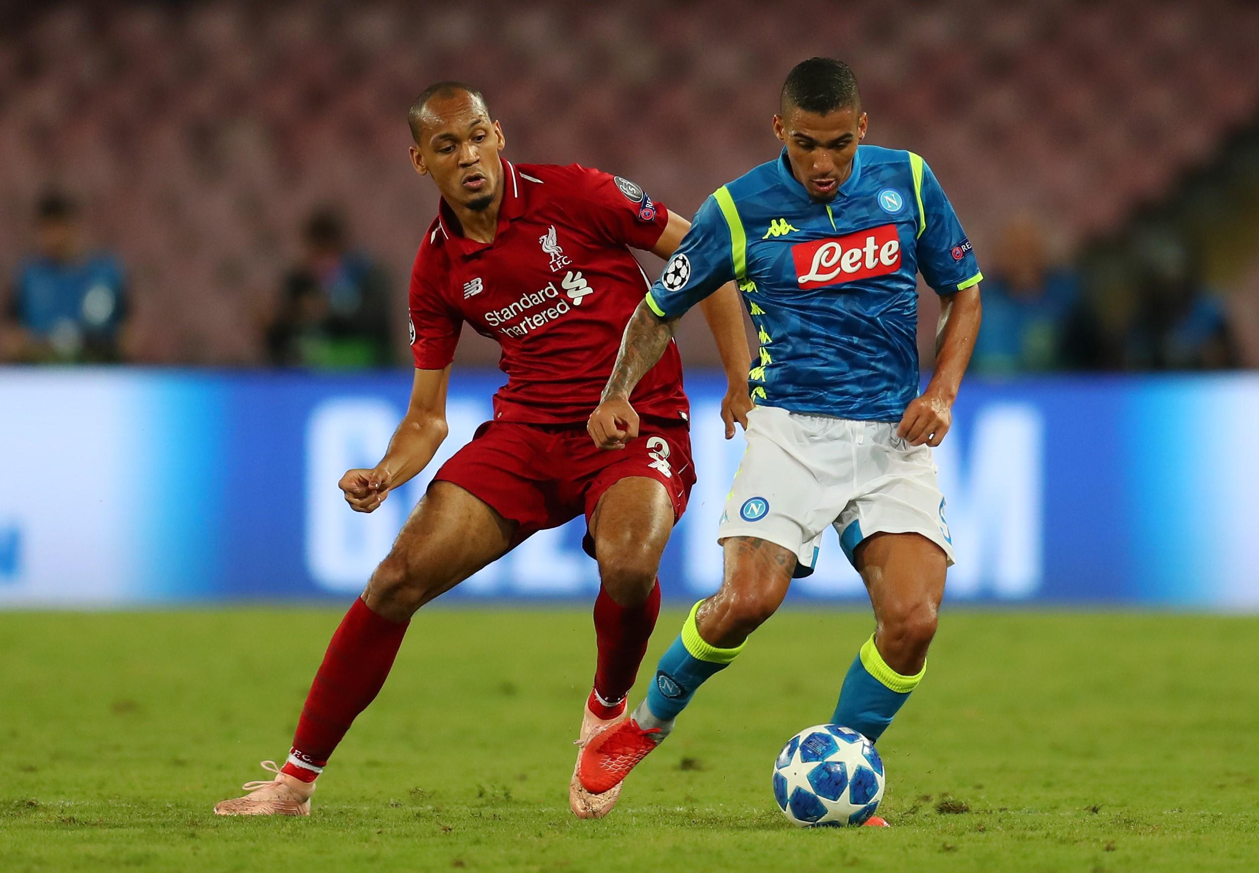 Fabinho lors de la rencontre entre Naples et Liverpoll / Ligue des champions