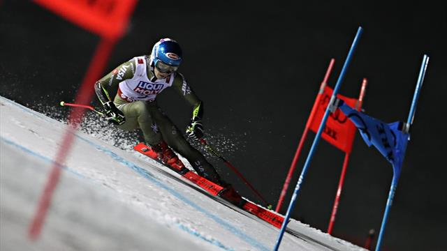 Shiffrin fourth in Giant Slalom, falls after finishing first run