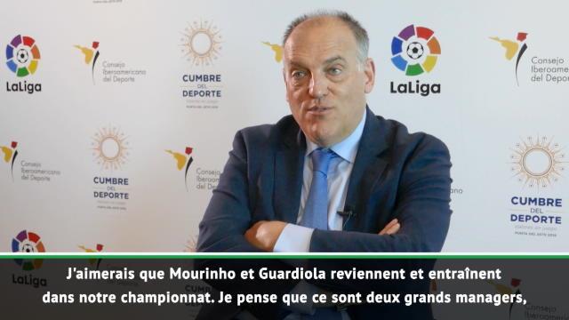 "La Liga - Tebas : ""J'aimerais que Mourinho et Guardiola reviennent en Liga"""