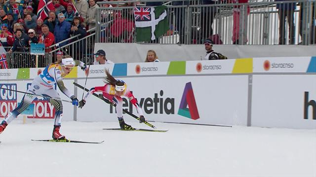 Юная норвежка шла третьей, но нелепо споткнулась об себя и финишировала последней в слезах