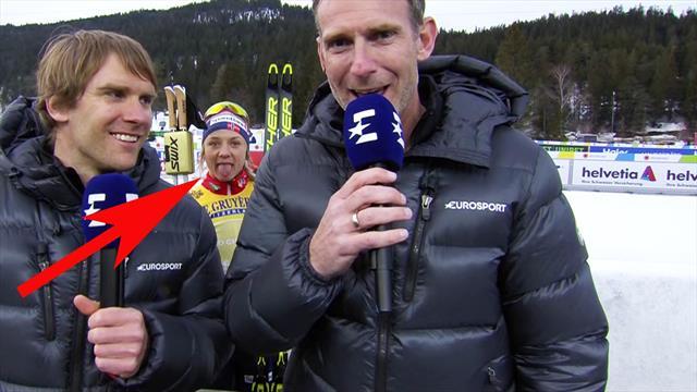 Rotzfreches Photobombing! Weltmeisterin Falla foppt TV-Experten